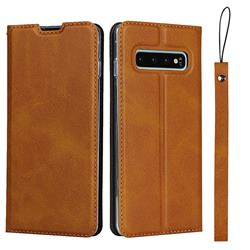 Calf Pattern Magnetic Automatic Suction Leather Wallet Case for Samsung Galaxy S10 (6.1 inch) - Brown