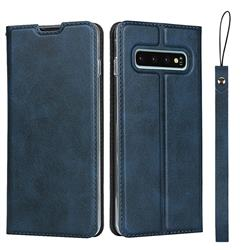 Calf Pattern Magnetic Automatic Suction Leather Wallet Case for Samsung Galaxy S10 (6.1 inch) - Blue