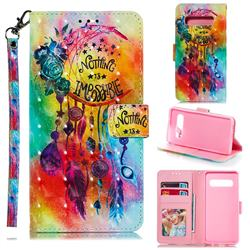 Flower Wind Chimes 3D Painted Leather Phone Wallet Case for Samsung Galaxy S10 (6.1 inch)