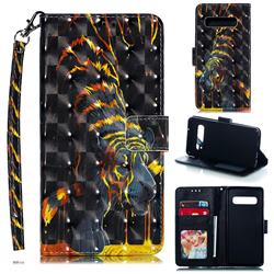 Tiger Totem 3D Painted Leather Phone Wallet Case for Samsung Galaxy S10 (6.1 inch)