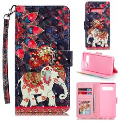 Phoenix Elephant 3D Painted Leather Phone Wallet Case for Samsung Galaxy S10 (6.1 inch)