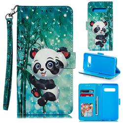 Cute Panda 3D Painted Leather Phone Wallet Case for Samsung Galaxy S10 (6.1 inch)