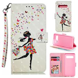 Flower Girl 3D Painted Leather Phone Wallet Case for Samsung Galaxy S10 (6.1 inch)