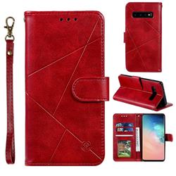 Embossing Geometric Leather Wallet Case for Samsung Galaxy S10 (6.1 inch) - Red