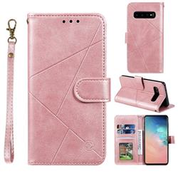 Embossing Geometric Leather Wallet Case for Samsung Galaxy S10 (6.1 inch) - Rose Gold