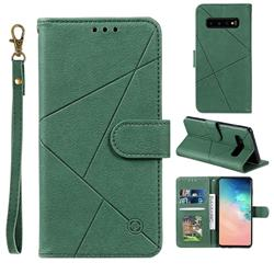 Embossing Geometric Leather Wallet Case for Samsung Galaxy S10 (6.1 inch) - Green