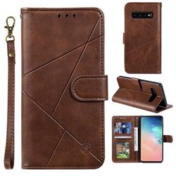Embossing Geometric Leather Wallet Case for Samsung Galaxy S10 (6.1 inch) - Brown
