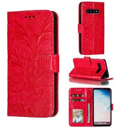 Intricate Embossing Lace Jasmine Flower Leather Wallet Case for Samsung Galaxy S10 (6.1 inch) - Red