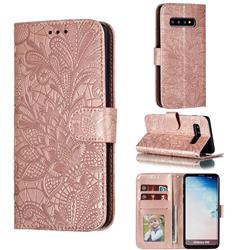 Intricate Embossing Lace Jasmine Flower Leather Wallet Case for Samsung Galaxy S10 (6.1 inch) - Rose Gold