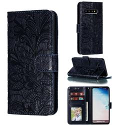 Intricate Embossing Lace Jasmine Flower Leather Wallet Case for Samsung Galaxy S10 (6.1 inch) - Dark Blue