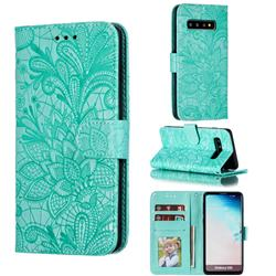 Intricate Embossing Lace Jasmine Flower Leather Wallet Case for Samsung Galaxy S10 (6.1 inch) - Green