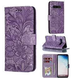 Intricate Embossing Lace Jasmine Flower Leather Wallet Case for Samsung Galaxy S10 (6.1 inch) - Purple