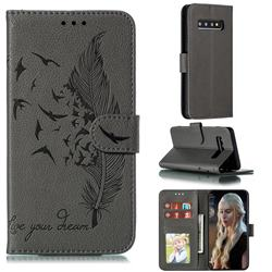 Intricate Embossing Lychee Feather Bird Leather Wallet Case for Samsung Galaxy S10 (6.1 inch) - Gray