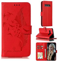 Intricate Embossing Lychee Feather Bird Leather Wallet Case for Samsung Galaxy S10 (6.1 inch) - Red