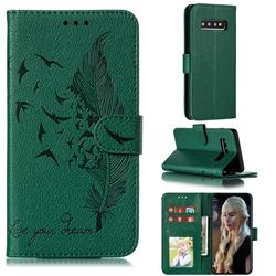 Intricate Embossing Lychee Feather Bird Leather Wallet Case for Samsung Galaxy S10 (6.1 inch) - Green