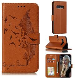 Intricate Embossing Lychee Feather Bird Leather Wallet Case for Samsung Galaxy S10 (6.1 inch) - Brown