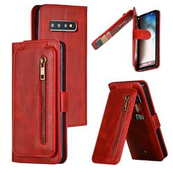 Multifunction 9 Cards Leather Zipper Wallet Phone Case for Samsung Galaxy S10 (6.1 inch) - Red