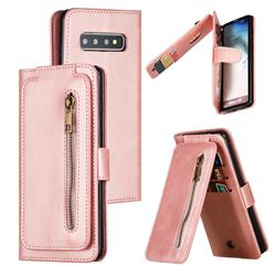 Multifunction 9 Cards Leather Zipper Wallet Phone Case for Samsung Galaxy S10 (6.1 inch) - Rose Gold