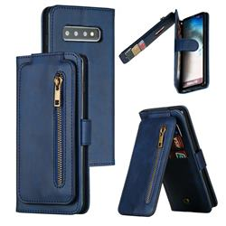 Multifunction 9 Cards Leather Zipper Wallet Phone Case for Samsung Galaxy S10 (6.1 inch) - Blue