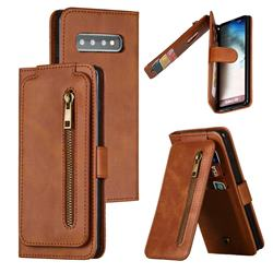 Multifunction 9 Cards Leather Zipper Wallet Phone Case for Samsung Galaxy S10 (6.1 inch) - Brown