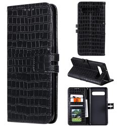 Luxury Crocodile Magnetic Leather Wallet Phone Case for Samsung Galaxy S10 (6.1 inch) - Black