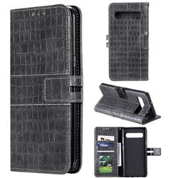 Luxury Crocodile Magnetic Leather Wallet Phone Case for Samsung Galaxy S10 (6.1 inch) - Gray