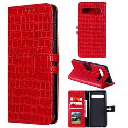 Luxury Crocodile Magnetic Leather Wallet Phone Case for Samsung Galaxy S10 (6.1 inch) - Red