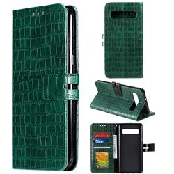 Luxury Crocodile Magnetic Leather Wallet Phone Case for Samsung Galaxy S10 (6.1 inch) - Green