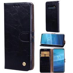 Luxury Retro Oil Wax PU Leather Wallet Phone Case for Samsung Galaxy S10 (6.1 inch) - Deep Black