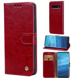 Luxury Retro Oil Wax PU Leather Wallet Phone Case for Samsung Galaxy S10 (6.1 inch) - Brown Red