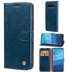 Luxury Retro Oil Wax PU Leather Wallet Phone Case for Samsung Galaxy S10 (6.1 inch) - Sapphire