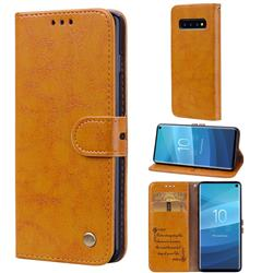 Luxury Retro Oil Wax PU Leather Wallet Phone Case for Samsung Galaxy S10 (6.1 inch) - Orange Yellow