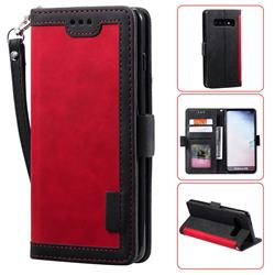 Luxury Retro Stitching Leather Wallet Phone Case for Samsung Galaxy S10 (6.1 inch) - Deep Red