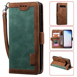 Luxury Retro Stitching Leather Wallet Phone Case for Samsung Galaxy S10 (6.1 inch) - Dark Green
