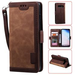 Luxury Retro Stitching Leather Wallet Phone Case for Samsung Galaxy S10 (6.1 inch) - Dark Brown