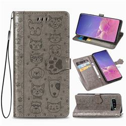 Embossing Dog Paw Kitten and Puppy Leather Wallet Case for Samsung Galaxy S10 (6.1 inch) - Gray
