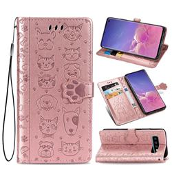 Embossing Dog Paw Kitten and Puppy Leather Wallet Case for Samsung Galaxy S10 (6.1 inch) - Rose Gold