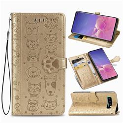Embossing Dog Paw Kitten and Puppy Leather Wallet Case for Samsung Galaxy S10 (6.1 inch) - Champagne Gold