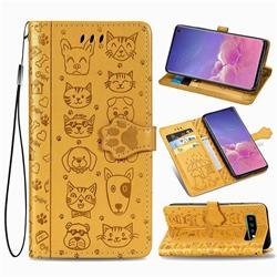 Embossing Dog Paw Kitten and Puppy Leather Wallet Case for Samsung Galaxy S10 (6.1 inch) - Yellow
