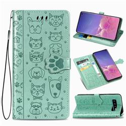 Embossing Dog Paw Kitten and Puppy Leather Wallet Case for Samsung Galaxy S10 (6.1 inch) - Green