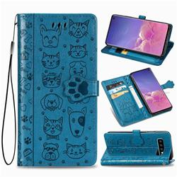 Embossing Dog Paw Kitten and Puppy Leather Wallet Case for Samsung Galaxy S10 (6.1 inch) - Blue
