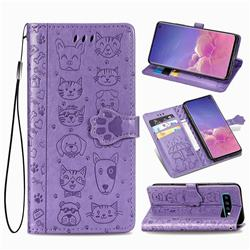 Embossing Dog Paw Kitten and Puppy Leather Wallet Case for Samsung Galaxy S10 (6.1 inch) - Purple