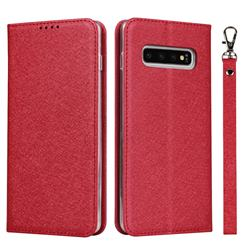 Ultra Slim Magnetic Automatic Suction Silk Lanyard Leather Flip Cover for Samsung Galaxy S10 (6.1 inch) - Red