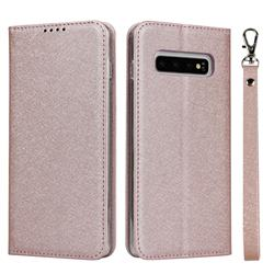 Ultra Slim Magnetic Automatic Suction Silk Lanyard Leather Flip Cover for Samsung Galaxy S10 (6.1 inch) - Rose Gold