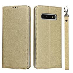 Ultra Slim Magnetic Automatic Suction Silk Lanyard Leather Flip Cover for Samsung Galaxy S10 (6.1 inch) - Golden