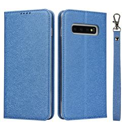Ultra Slim Magnetic Automatic Suction Silk Lanyard Leather Flip Cover for Samsung Galaxy S10 (6.1 inch) - Sky Blue