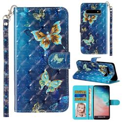 Rankine Butterfly 3D Leather Phone Holster Wallet Case for Samsung Galaxy S10 (6.1 inch)