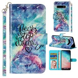 Blue Starry Sky 3D Leather Phone Holster Wallet Case for Samsung Galaxy S10 (6.1 inch)
