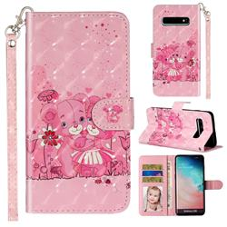 Pink Bear 3D Leather Phone Holster Wallet Case for Samsung Galaxy S10 (6.1 inch)
