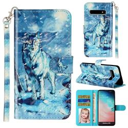 Snow Wolf 3D Leather Phone Holster Wallet Case for Samsung Galaxy S10 (6.1 inch)